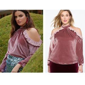 Eloquii Cold Shoulder Ruffle detail top blouse